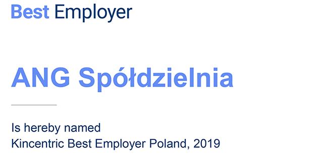 ANG Spółdzielnia najlepszym pracodawcą 2019 wg Kincentric Best Employer