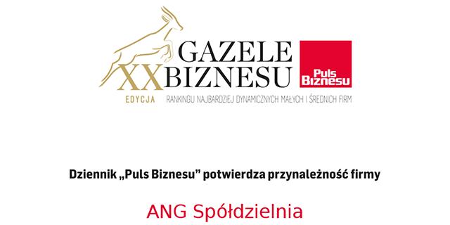 ANG Spółdzielnia z tytułem Gazela Biznesu 2019